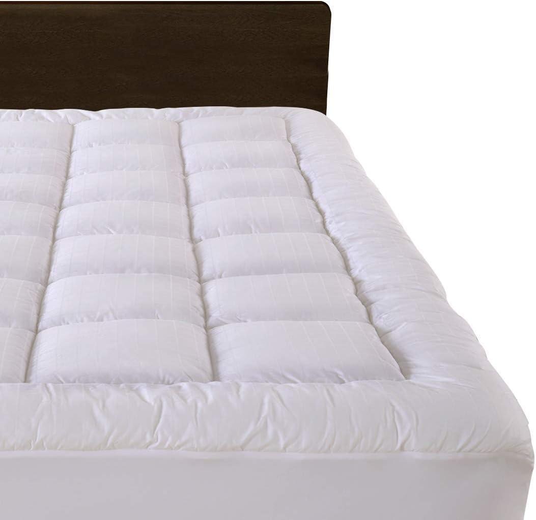 """Cloudream Queen Overfilled Mattress Pad Cover 8-22""""Deep Pocket-300TC Snow Down Alternative Pillow Top Mattress Topper"""