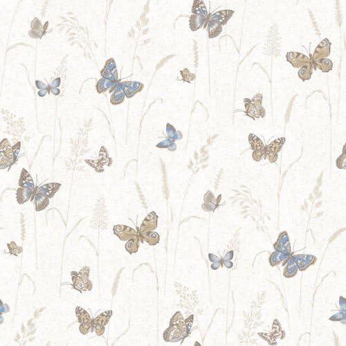 G12252 Kitchen Recipes Butterflies Beige Blue Galerie Wallpaper Amazon Com