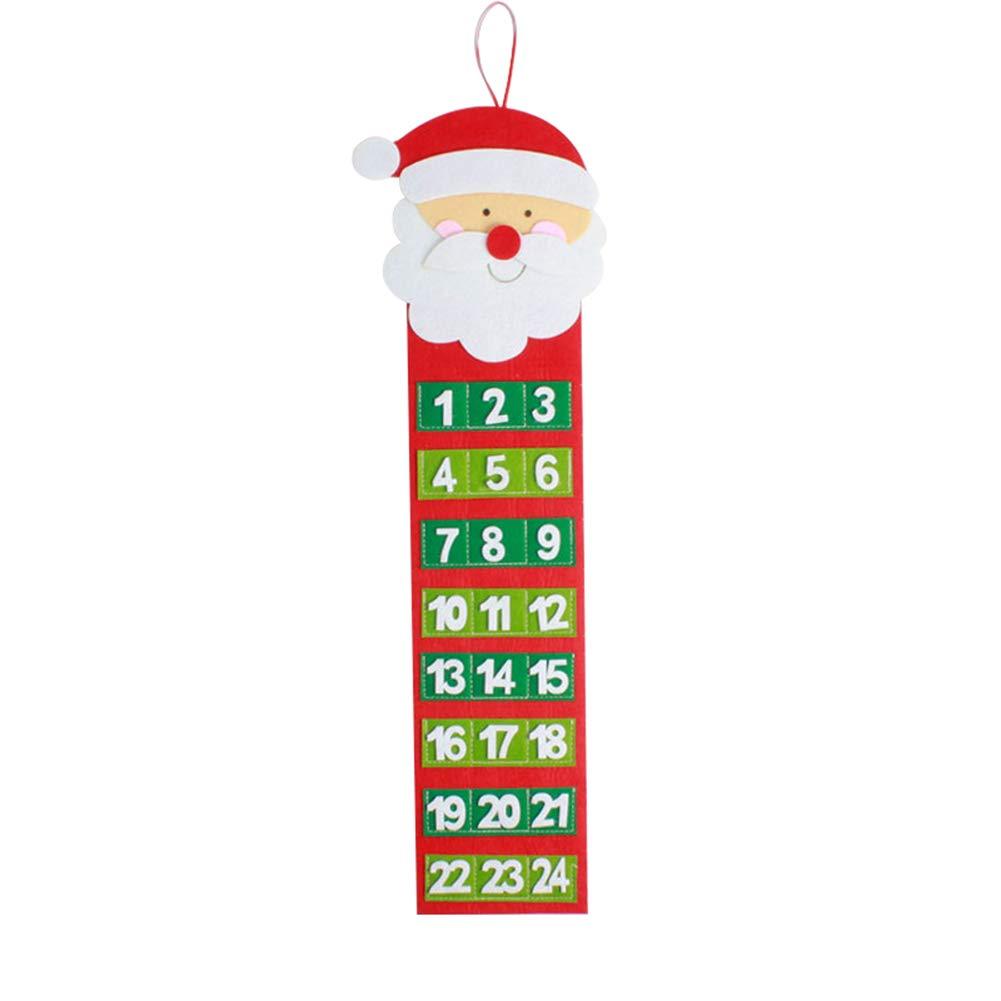 SIridescentZB Decorazioni Natalizie, Calendario Natale Conto alla rovescia Avvento Wall Hanging Ornament Xmas Party Decoration Santa Claus Slri