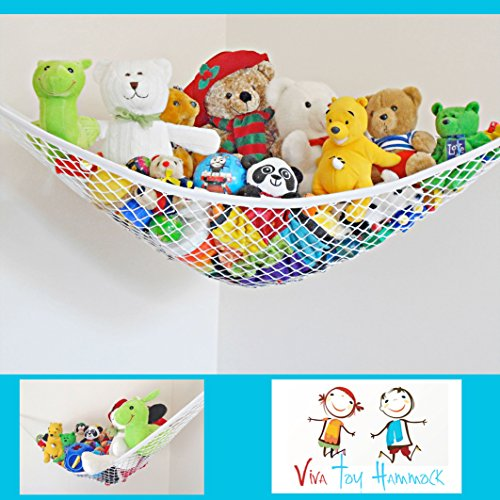 Viva Toy Hammock – Quickly TIDY TOYS | Attractive No Tangle Pet Net | DELUXE White Jumbo Toy Organizer Expands Up To 6 Feet | Stuffed Animal Hammock For Kids Bedroom, Teen Girl Décor Or Adults Gear