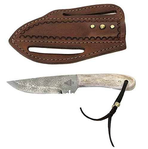 High Country 4 Fixed Blade Knife with Tooled Leather Sheath (Country Pine Blades)