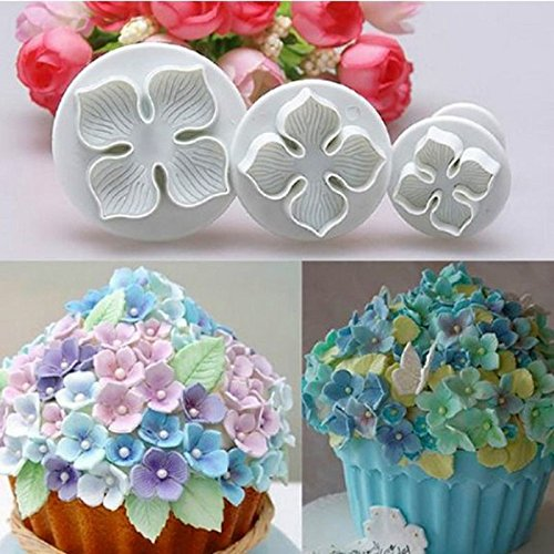 Money coming shop 3Pcs/Set Silicone Hydrangea Fondant Cake Decorating SugarCraft Plunger Cutter Flower Blossom Mold Home Kitchen Bake Tool