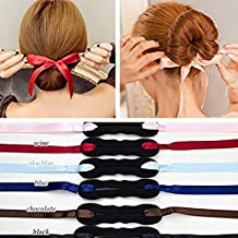Frcolor 3pcs Ribbon Magic French Twist Bun Maker Clip Hook Holder Magic Roll Rings Donut Updo Chignon Former Pads Foam Sponge Hair Styler