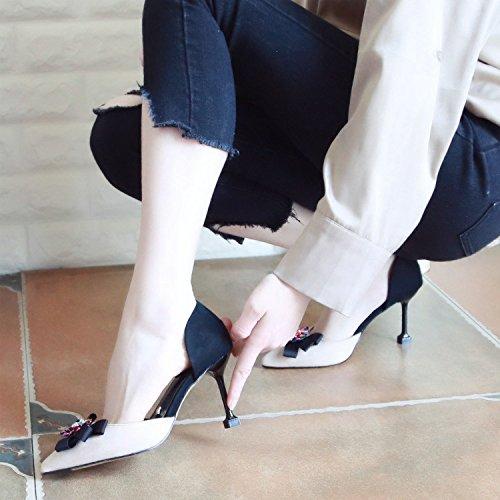 Zapatos Qiqi con Xue Pajarita Elegante Solo Beige Femeninos luz Color de Tribunal Baile Sandalias de Hechizo Punto Zapatos Moda Zapatos Tacón de Zapatos Fino Zapatos fwRnFZrdqw
