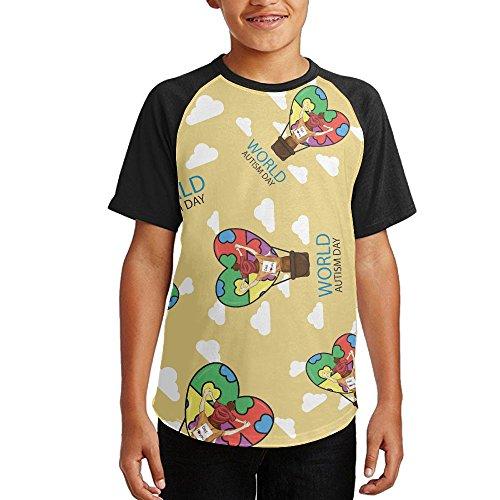 Top Autism Awareness Dad Youth Short Sleeves Raglan Print Baseball T-Shirts Tops for cheap