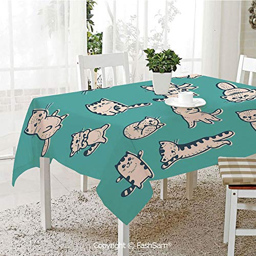 AmaUncle Premium Waterproof Table Cover Cute Kitties in Various Gestures Sleeping Playful Babyish Cat Animal Illustration Decorative Kitchen Rectangular Table Cover (W60 xL104)]()