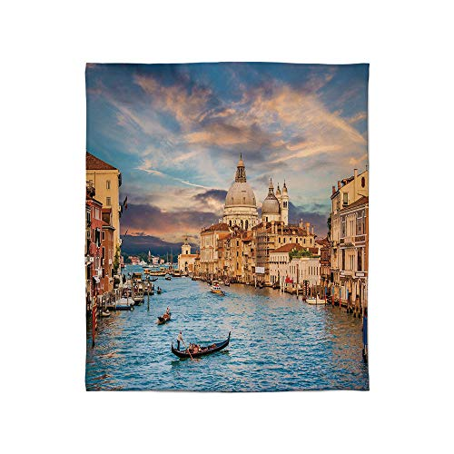 TecBillion Super Soft Blanket,Venice,for Camping Bed Couch,Size Throw/Twin/Queen/King,Gondola on Famous Canal Grande with Basilica