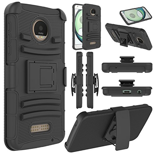 Moto Z Play Case, Moto Z Play Holster Case, Elegant Choise Heavy Duty Dual Layer Full Body Protective Kickstand Case Cover with Belt Clip Holster Case for Moto Z Play Droid (Black)