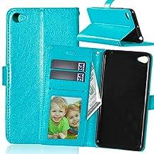 Lenovo S90 case, solid color pattern wallet style case magnetic design flip folio PU Leather cover standup cover case for Lenovo S90 ( Color : Blue-Lenovo S90 )