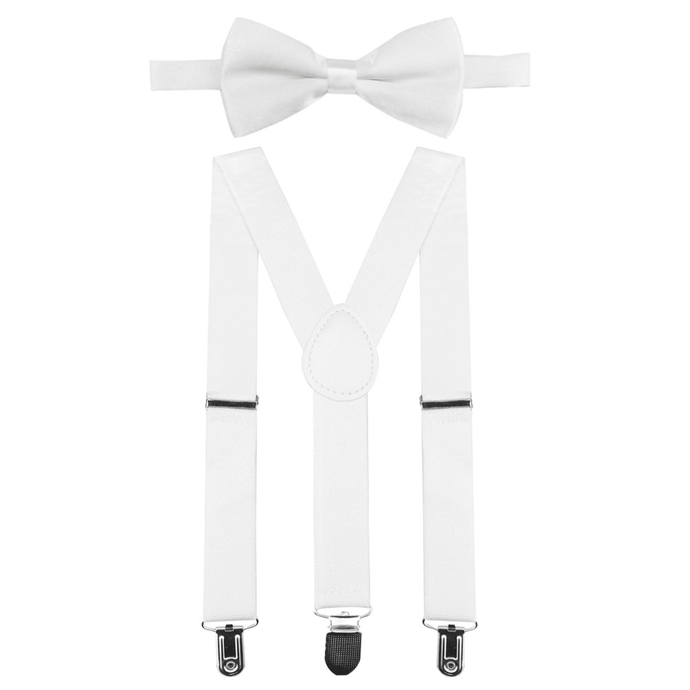 Children Kids Braces Bow tie set, Fully Elastic Bowtie Set-Unisex Braces and Bow Tie with 3 Strong Clips by HBF ✅BD302