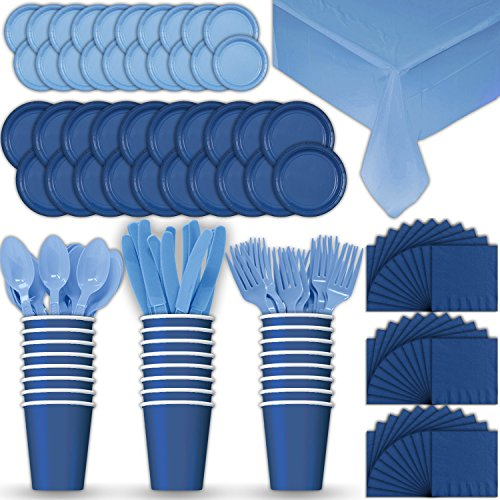 Paper Tableware Set for 24 - Blue & Light Blue - Dinner and Dessert Plates, Cups, Napkins, Cutlery (Spoons, Forks, Knives), and Tablecloths - Full Two-Tone Party Supplies Pack]()