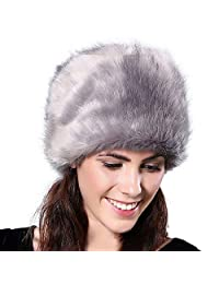 Forart Women Russian Cossack Faux Fur Hat Russian Cossack Hat for Ladies Winter