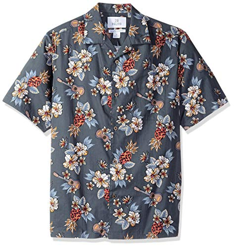 28 Palms Men's Relaxed-Fit 100% Cotton Tropical Hawaiian Shirt, Blue Guitar Floral, Large