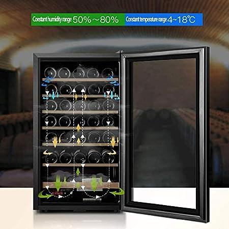 YFGQBCP 33 Botellas de Vino más Fresco, Digital Pantalla de Temperatura-Doble Capa de Vidrio Templado Puerta Funcionamiento silencioso Nevera Independiente Vino Frigorífico