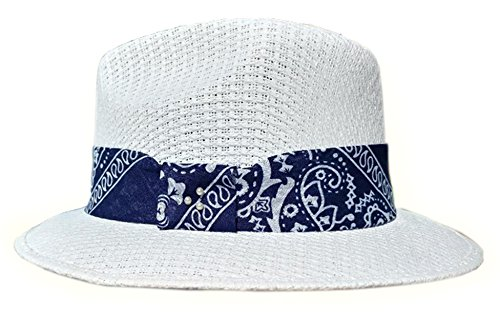 Tres Puntos Hatwear White Pachuco Hat with Blue Bandana (Old Gangster Suits)