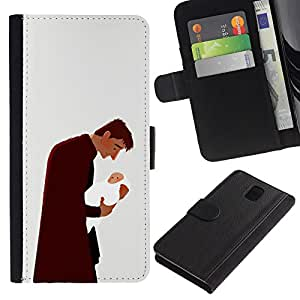 ZCell / Samsung Galaxy Note 3 III / Man Baby Father Child Family Love Art / Caso Shell Armor Funda Case Cover Wallet / El hombre bebé padr