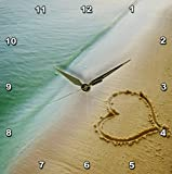 3dRose dpp_173299_1 Heart Shape Symbolizing Love, Heart Carved in Sand on the Beach Wall Clock, 10 by 10''