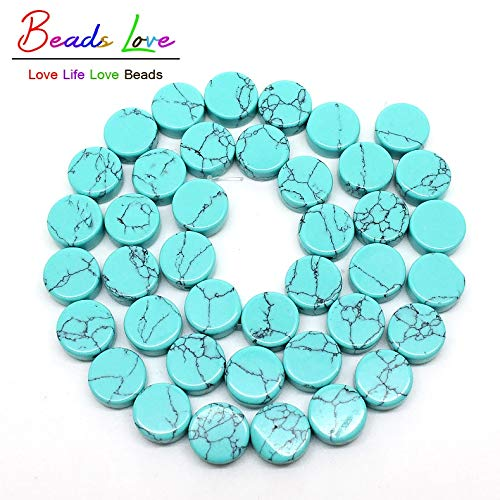 Calvas 10mm Natural Blue Turquoises Stone Beads for Jewelry Making 15.5inches Flat Round Shape Beads DIY Jewellery Wholesale-F00446