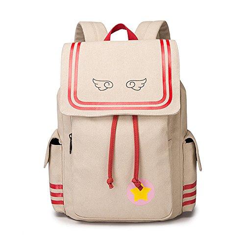 Cardcaptor Sakura Laptop Backpack,KINOMOTO Anime Girls School Canvas Shoulder Bag Cosplay Daypack