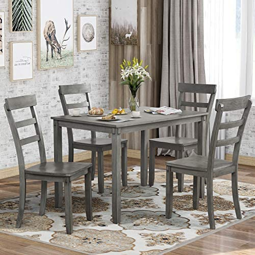 P PURLOVE 5 Piece Dining Table Set Wood Dining Room Table and 4 Chairs Retro Style Kitchen Table Set