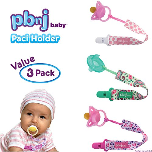 PBnJ baby Pacifier Clip Holder Strap Leash Tether for Boys and Girls with Safe Plastic Clip (Dots, Hearts, Paisley 3-Pack) from PBnJ Baby