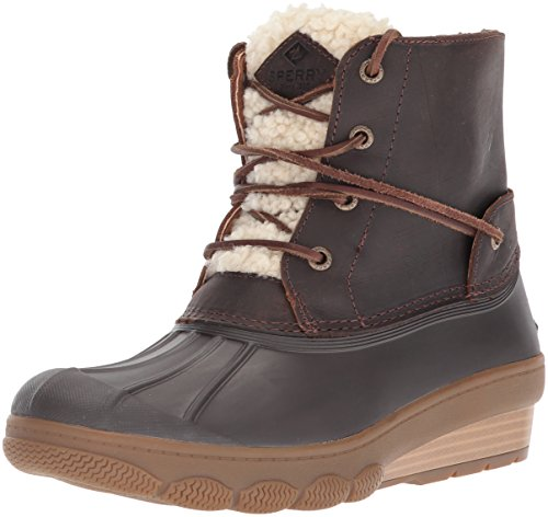 Top Sider Sperry Tie Leather (Sperry Top-Sider Women's Saltwater Wedge Tide Fur Rain Boot, Brown, 11 Medium US)