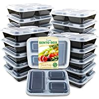 Romote,Meal Prep Containers [20 Pack] 3 Compartment with Lids, Food Storage Bento Box | BPA Free | Stackable | Reusable Lunch Boxes, Microwave/Dishwasher/Freezer Safe,Portion Control (36 oz)