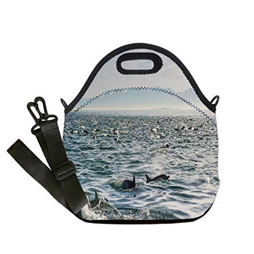 3D Print Neoprene Reusable Cooler Fashion Lunch Bag Group of dolphins swimming in the ocean Multicolor,for Adults and children waterproof Lunch Box