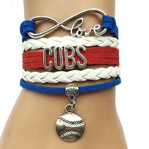 Infinity Love Cubs Baseball Bracelet Handmade Sports Team Baseball Charm Team (Baseball Charm Bracelet)