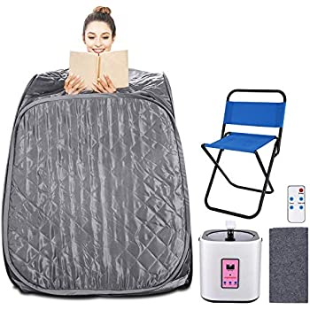 Himimi 2L Foldable Steam Sauna Portable Indoor Home Spa Weight Loss Detox with Chair Remote Dark Silver