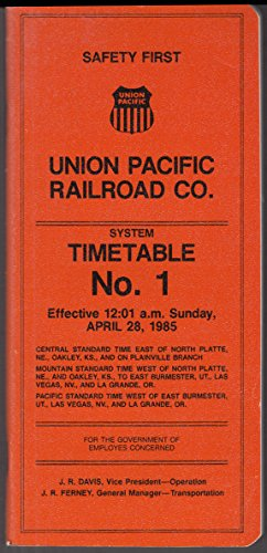 Union Pacific Railroad Employee System Timetable #1 4/28 1985