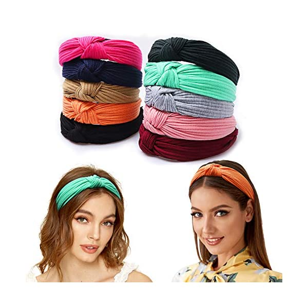 FOLAI Headbands for Women 10 Packs Fabric Hair Band Accessories Elastic Head Wrap Cute Outdoor Hair Accessories