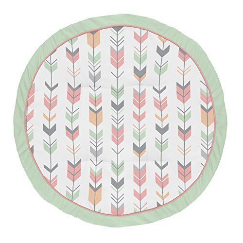 Sweet Jojo Designs Coral, Mint and Grey Woodland Arrow Playmat Tummy Time Baby and Infant Play Mat for Woodsy Collection