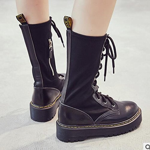 for Comfort Women's Round Winter Boots Calf Black Toe Chunky PU Casual Heel Fall Boots HSXZ ZHZNVX Black Shoes Mid ZYg5q