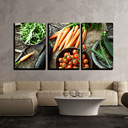 - wall26 - 3 Piece Canvas Wall Art - Fresh Organic Vegetables. Food Background. Healthy Food from Garden - Modern Home Decor Stretched and Framed Ready to Hang - 16