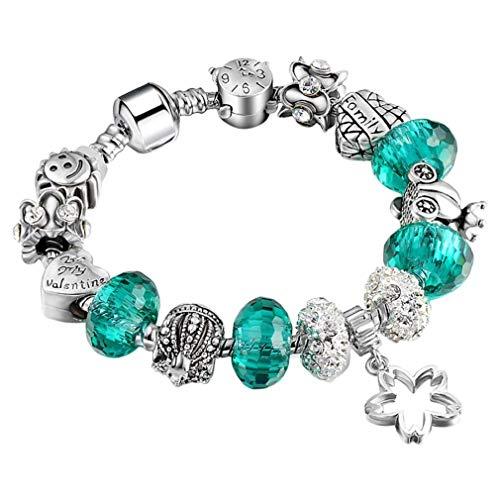 - Noopvan DIY Beaded Bracelet, Ladies Fashion Big Hole Beads Glass Handmade Crystal Pendant Bracelet for Women (Deep Blue, 18cm)