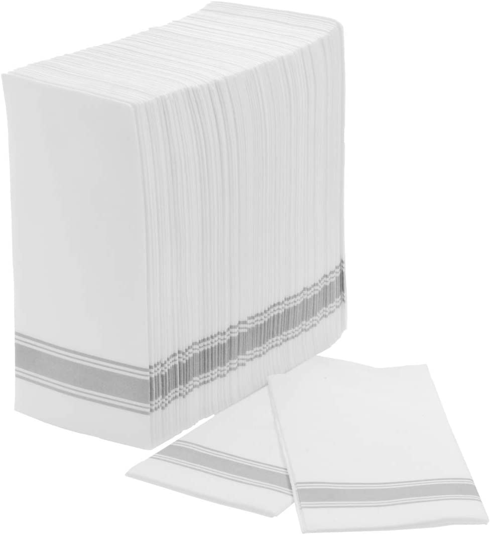 Exquisite 100 Count White And Silver Bulk Pack Classic Paper Linen Like Napkins, Guest Bathroom Hand Towels Disposable For Weddings, Parties, And More Measures 12 Inches X 17 Inches