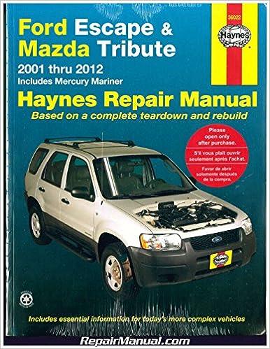 Book H36022 Haynes Ford Escape and Mazda Tribute 2001-2012 Repair Manual
