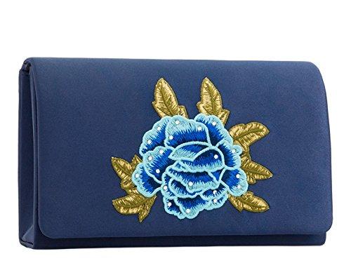 2213 Night Clutch Satin Women's Wedding Floral Bag Purse LeahWard Out Handbags Fuchsia Evening 6aZwPqn