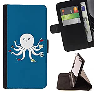 Momo Phone Case / Flip Funda de Cuero Case Cover - Divertido multitarea Pulpo Calamar - LG G2 D800
