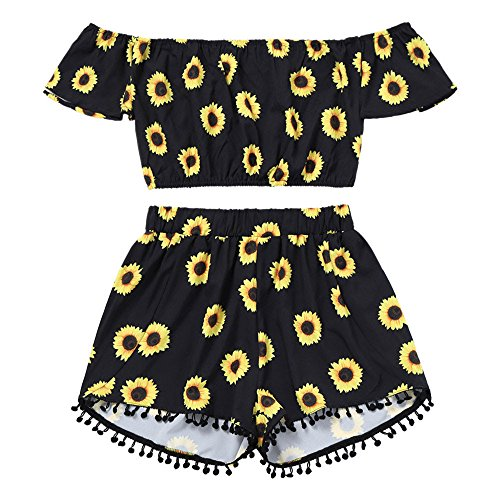 Women's Summer Two Piece Sunflower Floral Print Off Shoulder Short Sleeve Shirt Casual Blouses Tops tee Black -