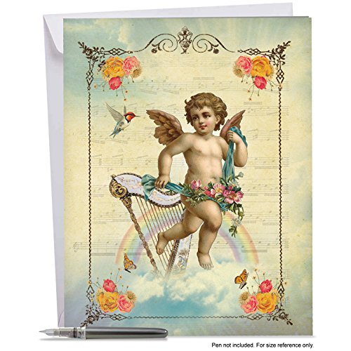 Jumbo Valentine's Day Card: ANGELIC NOTES Featuring Heavenly Angels Beautifully Framed With Flowers, Musical Instruments and Birds With Envelope (Big Size: 8.5