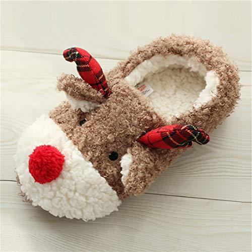 Image of Snowdeer Women's Cute Fuzzy Reindeer House Slippers Stuffed Animal Bedroom Slippers Cozy Reindeer Indoor Shoes (Khaki 39)