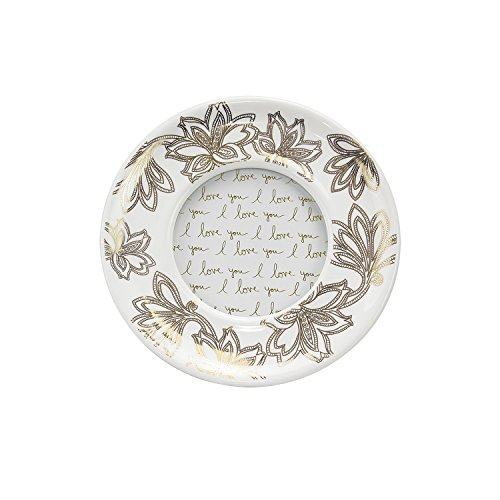 """Parisian Home Ceramic Round Picture Frame, Floral, Gold, 4"""""""
