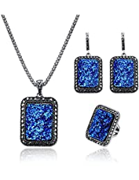 Fashion Obal Colorful Druzy Broken Stone Necklace Earring Ring Jewelry Set for Women, 18 inch Simulated Diamond Pendant Women Necklace