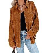 Tanming Women's Corduroy Long Sleeve Button Down Shirt Jacket Lapel Oversized Shacket