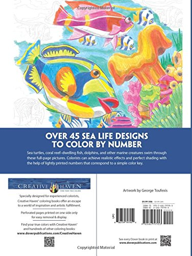 creative haven sea life color by number coloring book adult coloring george toufexis 0800759797950 amazoncom books - Color By Number Books