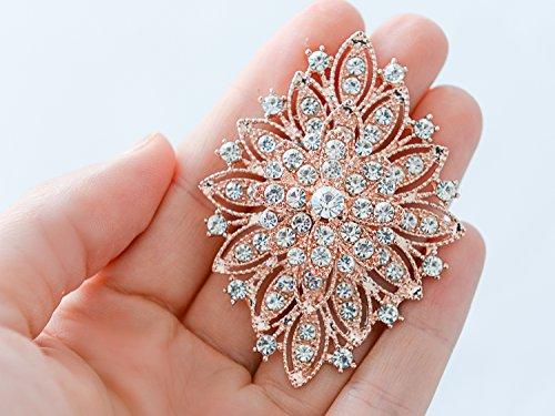 57f651cf7ed Mariell 14KT Rose Gold Plated Vintage Wedding Crystal Bridal Brooch -  Stunning Art Deco Blush Tone