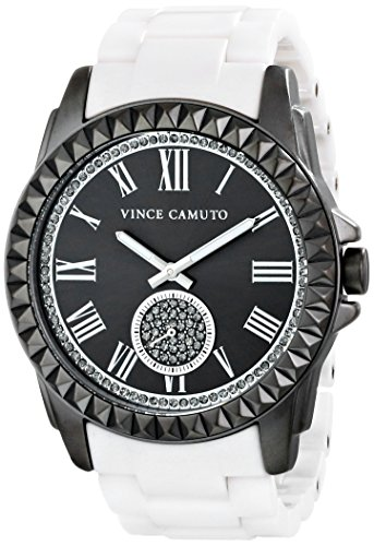 Vince Camuto Women's VC/5191GYWT Swarovski Crystal Accented Gunmetal and Matte White Ceramic Bracelet Watch