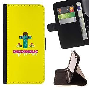 Jordan Colourful Shop - chocoholic sweets sugar danger diet healthy food For Apple Iphone 6 - < Leather Case Absorci????n cubierta de la caja de alto impacto > -